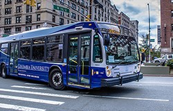 A photo of a Columbia University shuttle bus.