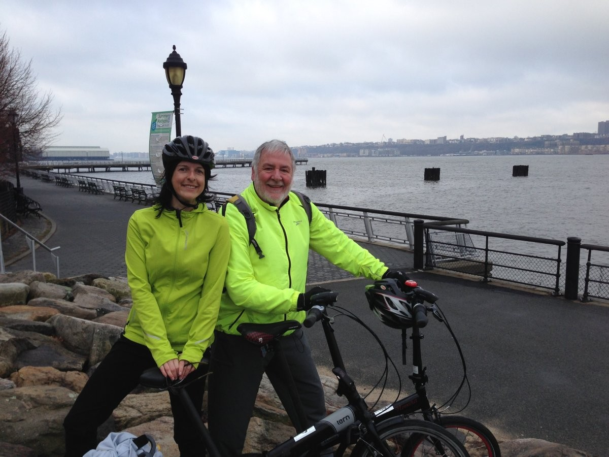 Cindy Smalletz (Narrative Medicine Program) and Doug McAndrew (College of Dental Medicine) commute to CUIMC by folding bike and New Jersey Transit from Glen Ridge, New Jersey