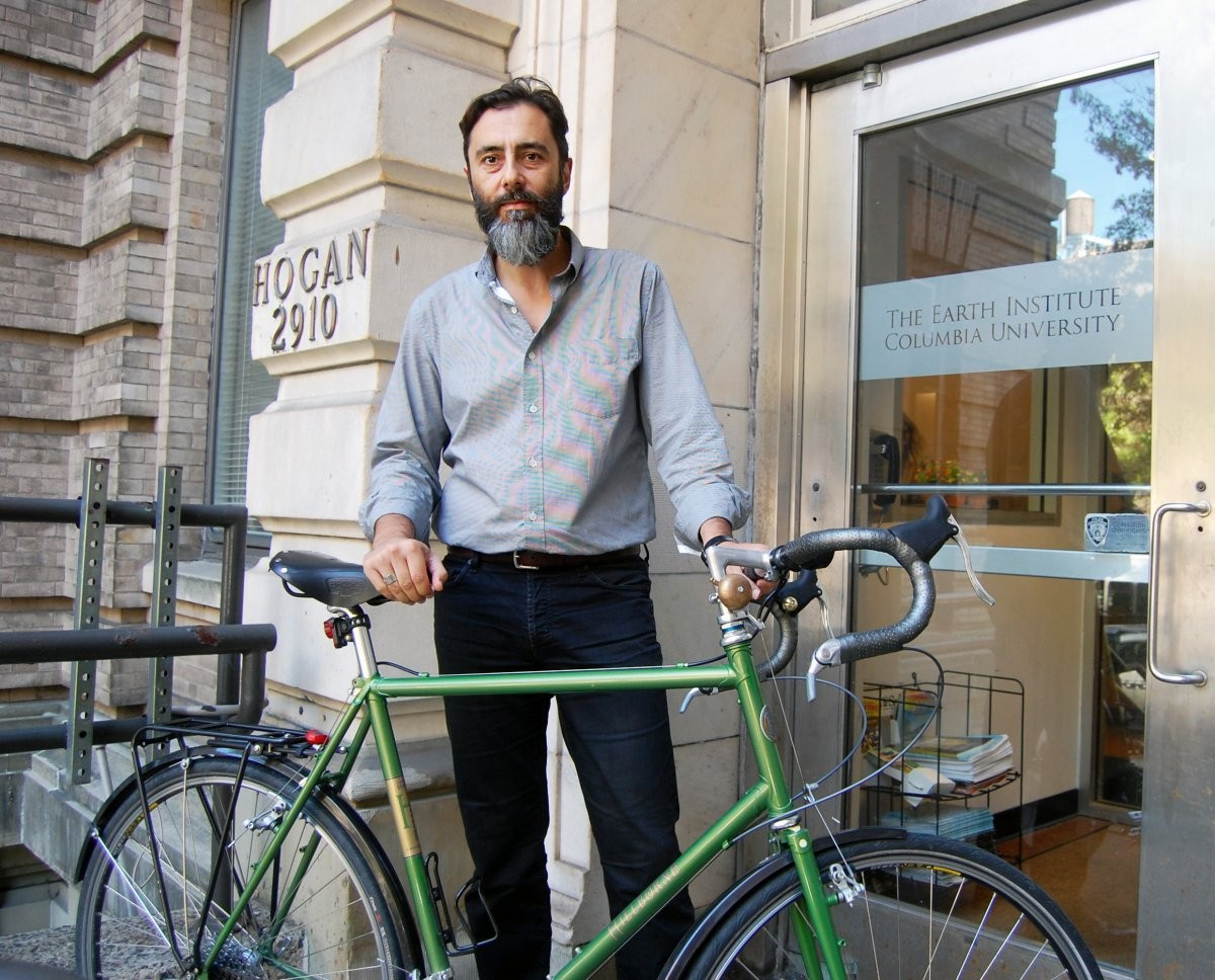 George Sarrinikolaou (Office of Academic and Research Programs, The Earth Institute) commutes by bike to Morningside campus from Prospect Heights, Brooklyn