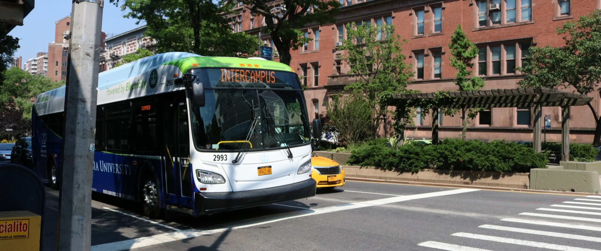 Photo of a Columbia University Intercampus Shuttle bus