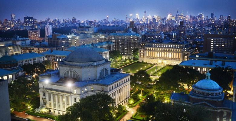 Columbia campus at night.
