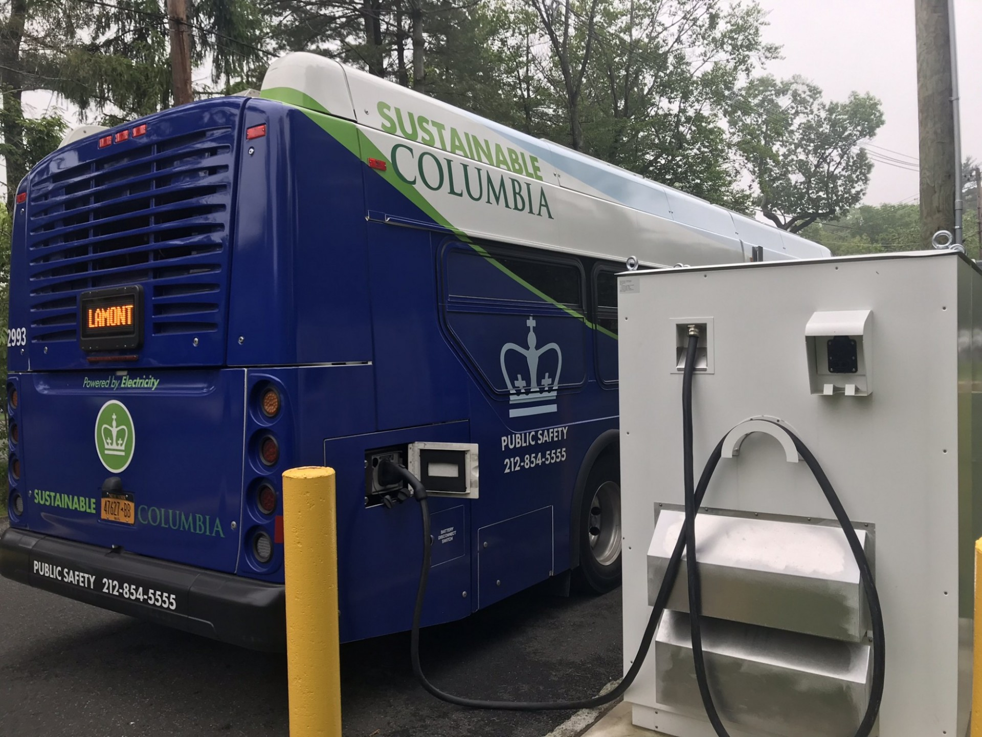 Electric bus charging at Lamont campus