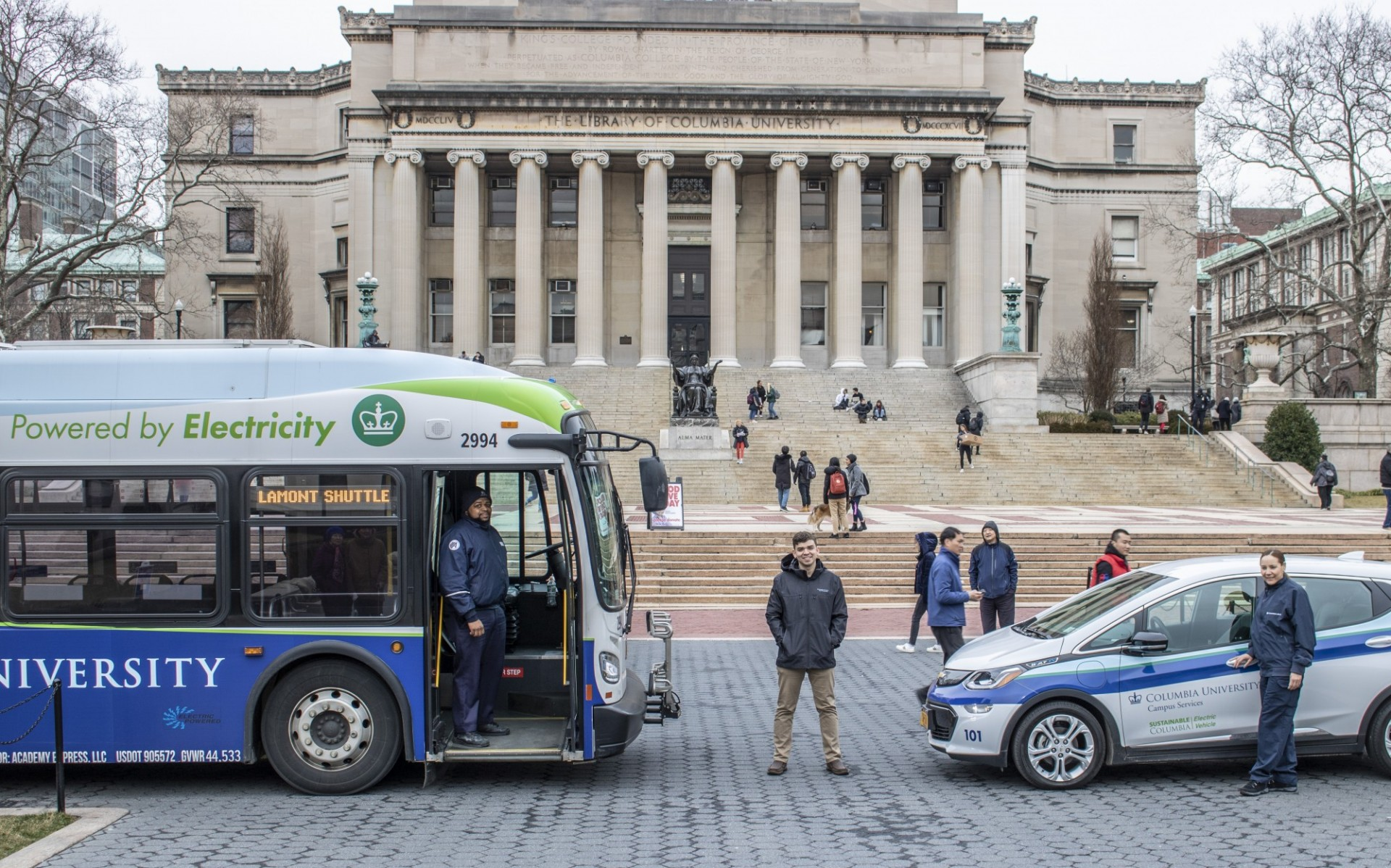Electric bus and vehicle on campus