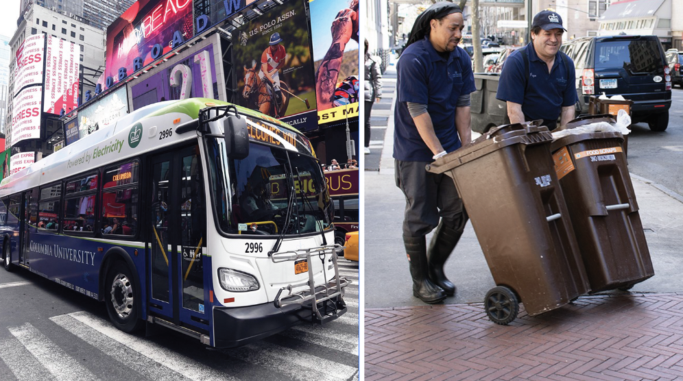 Left: Sustainable Columbia electric bus in Times Square for the ACT International Conference in August, 2019; Right: Columbia Dining employees roll bins full of compost to the curb for DSNY organics collection.