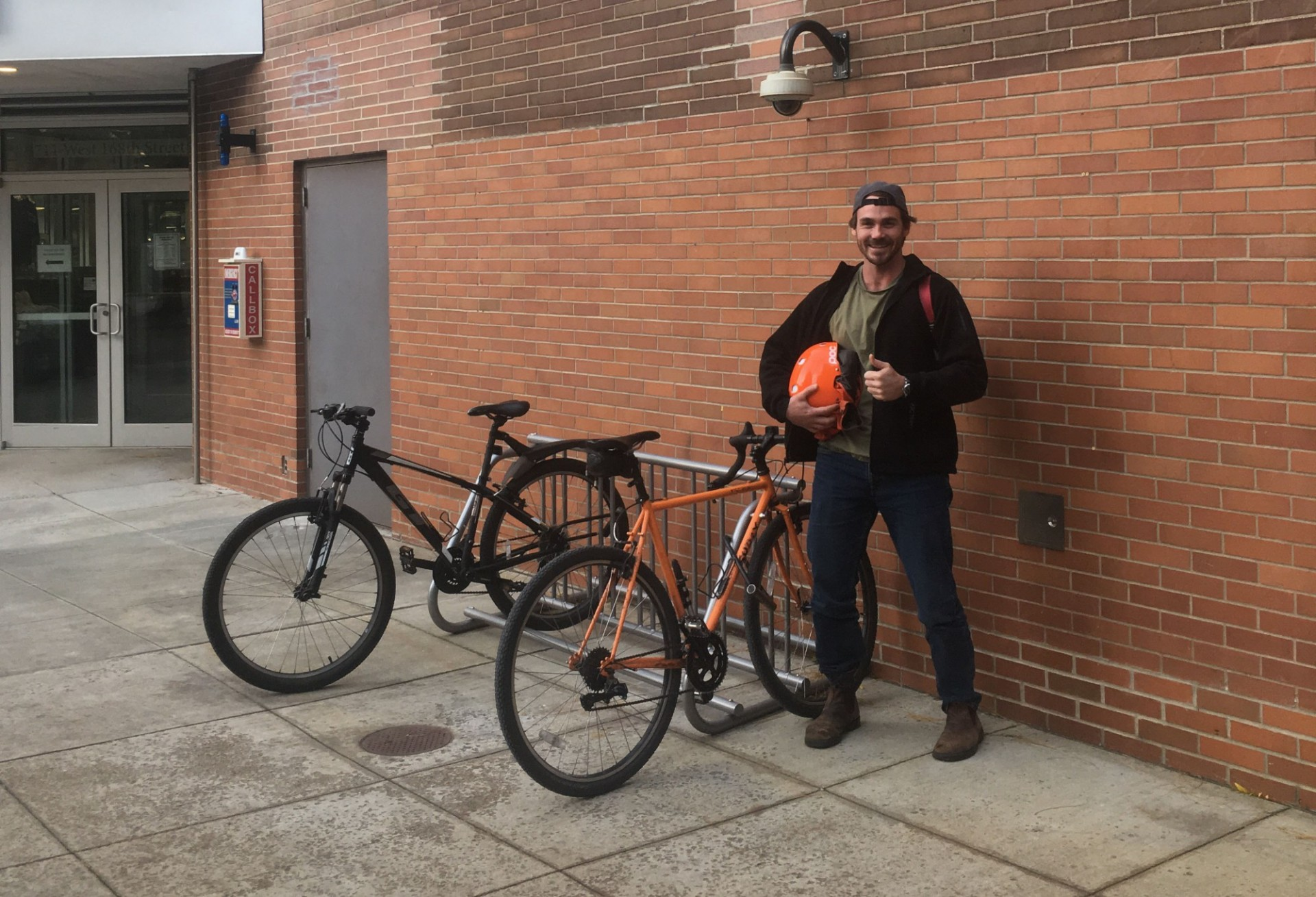 William Forsyth, a second-year student in the Masters of Public Health (MPH) program at the Medical Center campus, takes the ferry with his bike from Red Hook, Brooklyn to Wall Street and then rides from Wall Street to CUIMC.