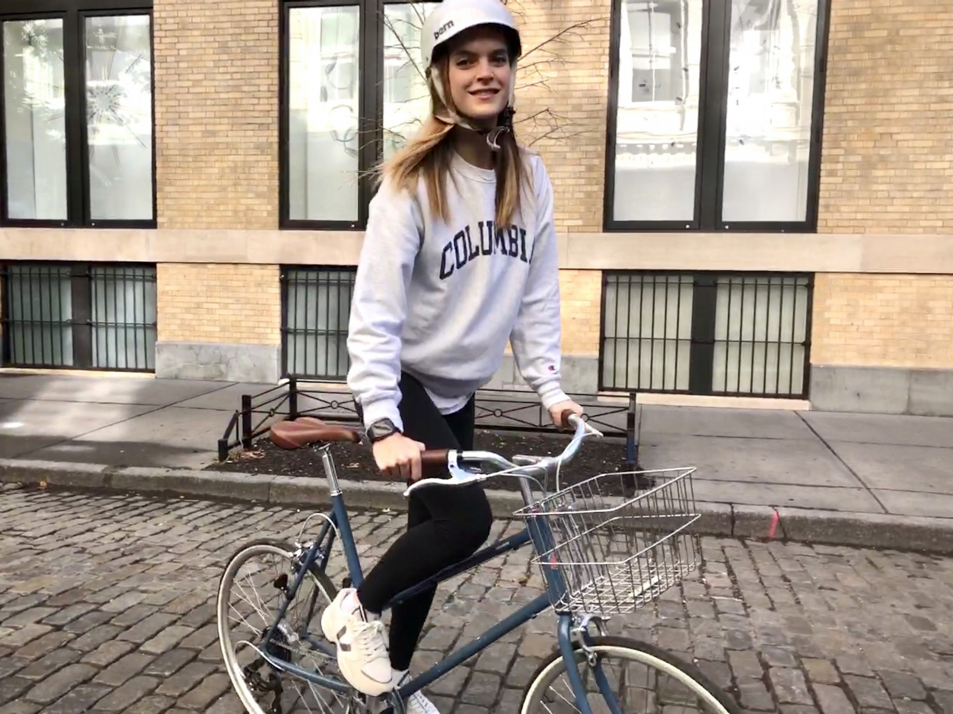 Mirte Maas, student in the School of General Studies (GS), rides her bike from Soho along the Hudson River.