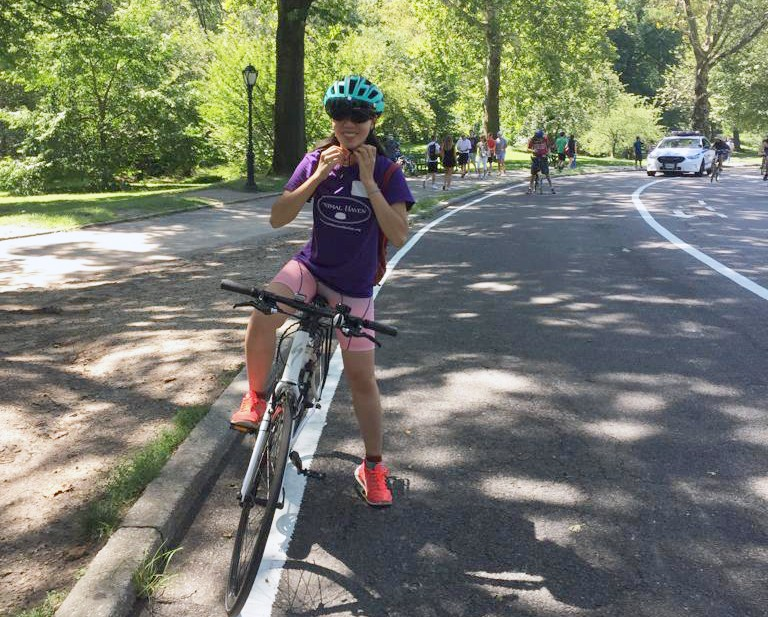 Kaimi Huang (Financial Analyst at the Columbia University School of Nursing) rides her bike from Chelsea to CUIMC in the warm months.