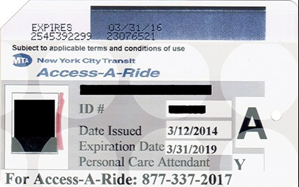 Sample of an Access-A-Ride identification card.