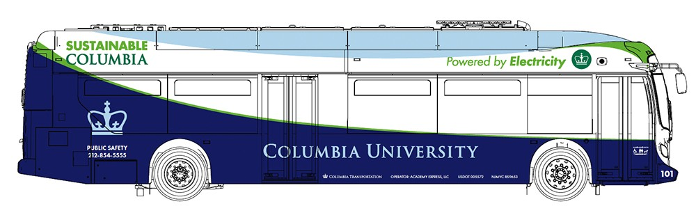 Drawing of the exterior design of Columbia University's all-electric shuttle fleet.