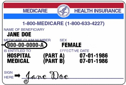 Sample of a Medicare Health Insurance Card