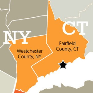 A map of Westchester County, NY and Connecticut